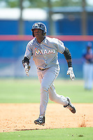GCL Marlins left fielder Sleyter Soto (11) running the bases during a game against the GCL Mets on August 12, 2016 at St. Lucie Sports Complex in St. Lucie, Florida.  GCL Marlins defeated GCL Mets 8-1.  (Mike Janes/Four Seam Images)