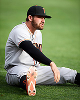 Tyler White (27) of the Fresno Grizzlies before the game against the Salt Lake Bees in Pacific Coast League action at Smith's Ballpark on April 17, 2017 in Salt Lake City, Utah. The Bees defeated the Grizzlies 6-2. (Stephen Smith/Four Seam Images)