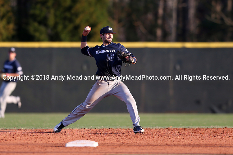 CARY, NC - FEBRUARY 23: Monmouth's Justin Trochiano. The Monmouth University Hawks played the Saint John's University Red Storm on February 23, 2018 on Field 2 at the USA Baseball National Training Complex in Cary, NC in a Division I College Baseball game. St John's won the game 3-0.