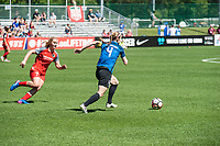 Kansas City, MO - Saturday May 13, 2017:  Lindsey Horan and Becky Sauerbrunn during a regular season National Women's Soccer League (NWSL) match between FC Kansas City and the Portland Thorns FC at Children's Mercy Victory Field.