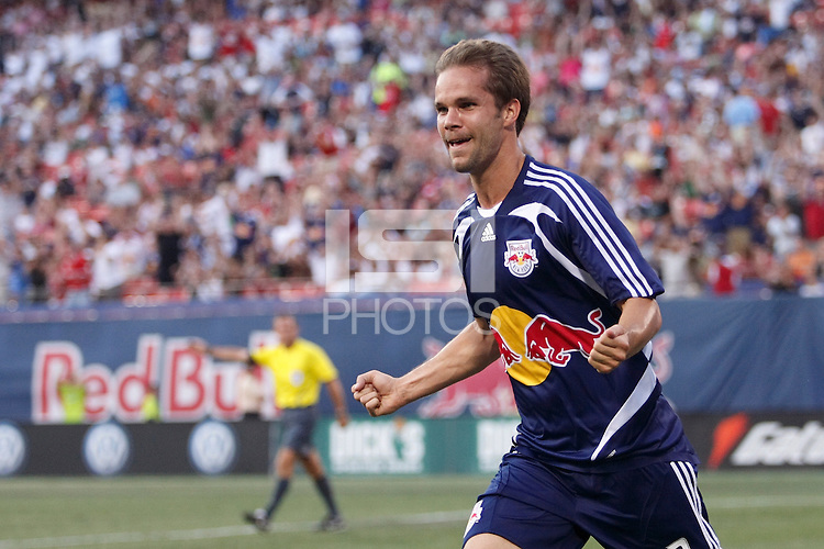 New York Red Bulls defender Kevin Goldthwaite (2) celebrates scoring during the first half of a Major League Soccer match between the New York Red Bulls and FC Dallas at Giants Stadium in East Rutherford, NJ, on June 21, 2008.