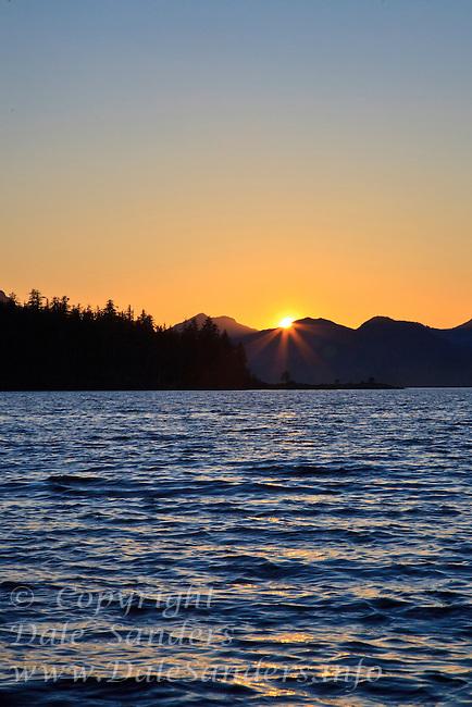 Sunset in the islands of Haida Gwaii, British Columbia, Canada.