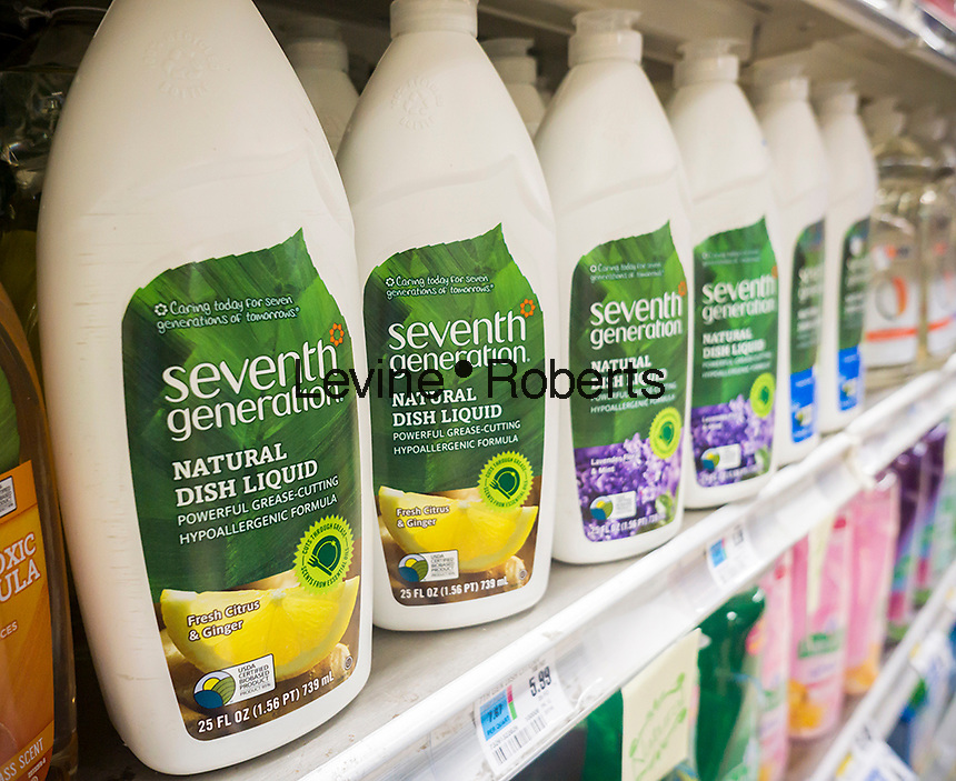 Bottles of Seventh Generation brand dishwashing liquid on a supermarket shelf in New York on Tuesday, September 20, 2016. Unilever announced that it has agreed to buy Vermont-based Seventh Generation, a plant-based household products manufacturer for about $700 million. Seventh Generation had $200 million in revenue in 2015 and has seen double-digit growth.  (© Richard B. Levine)