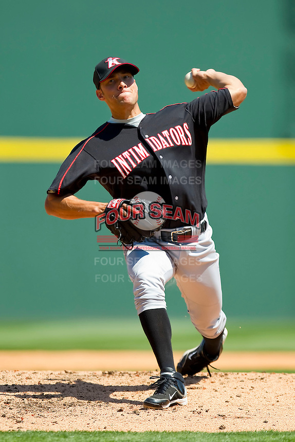 Spencer Arroyo #20 of the Kannapolis Intimidators in action against the Charlotte Knights at Knights Stadium on April 3, 2011 in Fort Mill, South Carolina.    Photo by Brian Westerholt / Four Seam Images