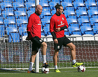 (L-R) James Collins and Gareth Bale in action during the Wales Press Conference and Training Session at The Cardiff City Stadium, Cardiff, Wales, UK. Friday 01 September 2017