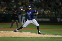 OAKLAND, CA - OCTOBER 02:  Diego Castillo #63 of the Tampa Bay Rays pitches against the Oakland Athletics during the American League Wild Card Game at RingCentral Coliseum on Wednesday, October 2, 2019 in Oakland, California. (Photo by Brad Mangin)