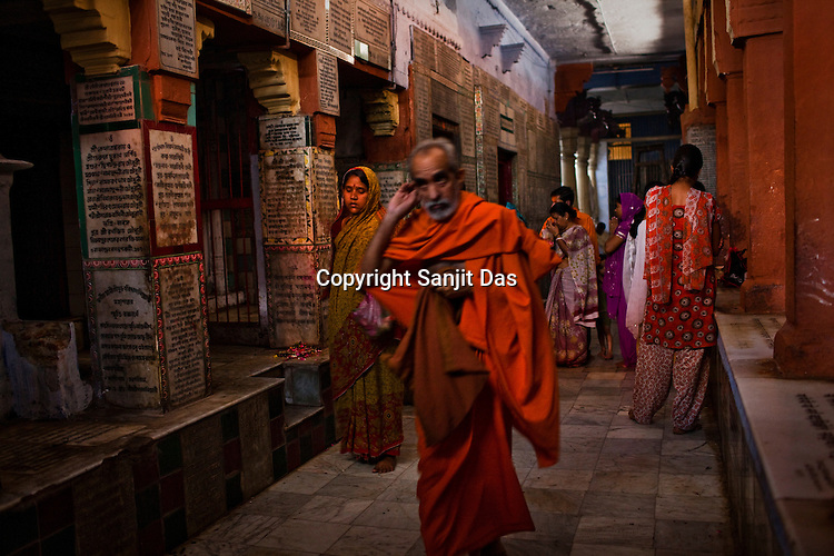 Hindu Pilgrims visit the Gauri Kedareshwar temple on Kedar Ghat in the ancient city of Varanasi in Uttar Pradesh, India. Photograph: Sanjit Das/Panos