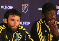 Columbus, Ohio. - Friday, December 4, 2015: The Columbus Crew and the Portland Timbers at a press conference before the 2015 MLS (Major League Soccer) Cup Championship at Mapfre stadium.