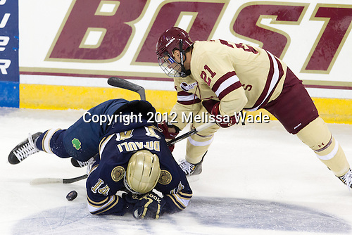 Thomas DiPauli (Notre Dame - 14), Steven Whitney (BC - 21) - The Boston College Eagles defeated the visiting University of Notre Dame Fighting Irish 3-1 (EN) on Friday, November 9, 2012, at Kelley Rink in Conte Forum in Chestnut Hill, Massachusetts.