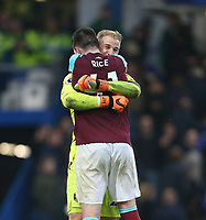 West Ham United's Joe Hart celebrates at the end of the game with Declan Rice<br /> <br /> Photographer Rob Newell/CameraSport<br /> <br /> The Premier League - Chelsea v West Ham United - Sunday 8th April 2018 - Stamford Bridge - London<br /> <br /> World Copyright &copy; 2018 CameraSport. All rights reserved. 43 Linden Ave. Countesthorpe. Leicester. England. LE8 5PG - Tel: +44 (0) 116 277 4147 - admin@camerasport.com - www.camerasport.com