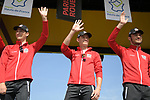 UAE Team Emirates with European Champion Alexander Kristoff (NOR) centre on stage at the team presentation before the 116th edition of Paris-Roubaix 2018. 7th April 2018.<br /> Picture: ASO/Pauline Ballet | Cyclefile<br /> <br /> <br /> All photos usage must carry mandatory copyright credit (&copy; Cyclefile | ASO/Pauline Ballet)
