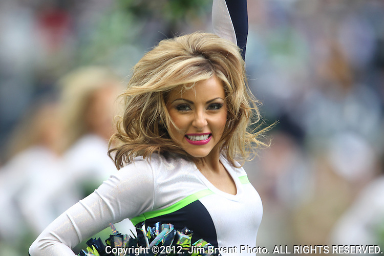 Seattle Seahawks cheerleaders perform during the Seahawks game against the St. Louis Rams at CenturyLink Field in Seattle, Washington on  December 30, 2012.   © 2012. Jim Bryant Photo. All Rights Reserved.