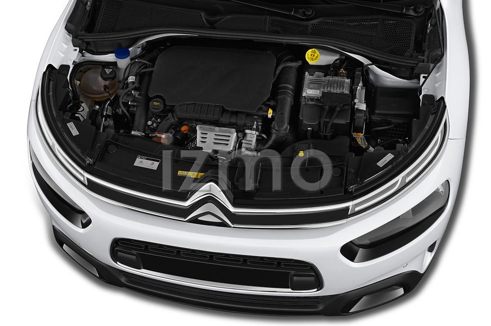 Car stock 2018 Citroen C4 Cactus Shine 5 Door SUV engine high angle detail view