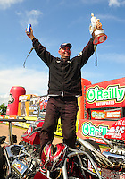Apr. 29, 2012; Baytown, TX, USA: NHRA super comp driver Britt Cummings celebrates after winning the Spring Nationals at Royal Purple Raceway. Mandatory Credit: Mark J. Rebilas-
