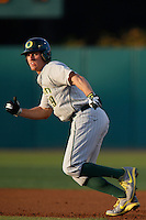 Steven Packard #29 of the Oregon Ducks runs the bases during a baseball game against the USC Trojans at Dedeaux Field on March 15, 2013 in Los Angeles, California. (Larry Goren/Four Seam Images)
