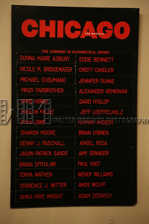 "Lobby Cast Board during the Curtain Call for Wendy Williams making her Broadway stage debut as Matron ""Mama"" Morton in CHICAGO at the Ambassador Theatre on July 1, 2013 in New York City."