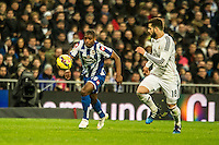 Real Madrid´s Nacho Fernandez and Deportivo de la Coruna's Ivan Cavaleiro during 2014-15 La Liga match between Real Madrid and Deportivo de la Coruna at Santiago Bernabeu stadium in Madrid, Spain. February 14, 2015. (ALTERPHOTOS/Luis Fernandez) /NORTEphoto.com