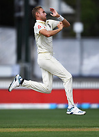 30th November 2019, Hamilton, New Zealand;  England's Stuart Broad bowling on day 2 of 2nd test match between New Zealand and England,  International Cricket at Seddon Park, Hamilton, New Zealand.  - Editorial Use