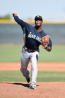 Seattle Mariners pitcher Jeremiah Muhammad (35) during an Instructional League game against the Cleveland Indians on October 1, 2014 at Goodyear Training Complex in Goodyear, Arizona.  (Mike Janes/Four Seam Images)