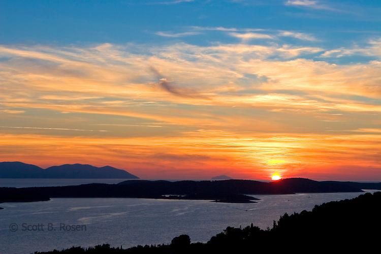 Sunset over old Hvar Town, Hvar Island, Croatia