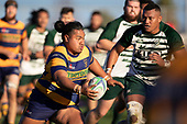 Richard Taupaki attacks the Manurewa defensive line, late in the game. Counties Manukau Premier Club Rugby game between Manurewa and Patumahoe, played at Mountfort Park Manurewa on Saturday June 23rd 2018. Patumahoe won the game 29 - 24 after trailing 12 - 19 at halftime.<br /> Manurewa Kidd Contracting 24 - Petelo Ikenasio, David Osofua, Paolelei Luteru, Pisi Leilua tries, Timothy Taefu 2 conversions,<br /> Patumahoe Troydon Patumahoe Hotel 29 - Kalim North, Shea Furniss, Jonny Wilkinson, Mark Royal, James Brady tries,  Broc Hooper 2 conversions.<br /> Photo by Richard Spranger