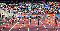 The Women's 100m Heat with Dina ASHER-SMITH of GBR making a time of 10.99 during the Sainsburys Anniversary Games at the Olympic Park, London, England on 25 July 2015. Photo by Andy Rowland.