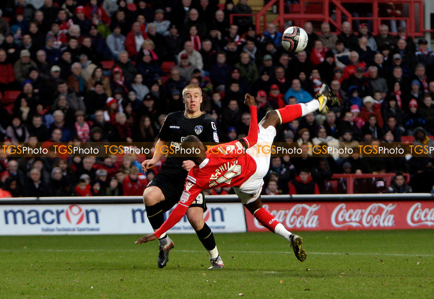 Bradley Wright-Phillips of Charlton Athletic FC has an extravagant attempt on goal in the first hal - Charlton Athletic vs Oldham Athletic - nPower League One Football at The Valley, London - 17/12/11 - MANDATORY CREDIT: Helen Watson/TGSPHOTO - Self billing applies where appropriate - 0845 094 6026 - contact@tgsphoto.co.uk - NO UNPAID USE.