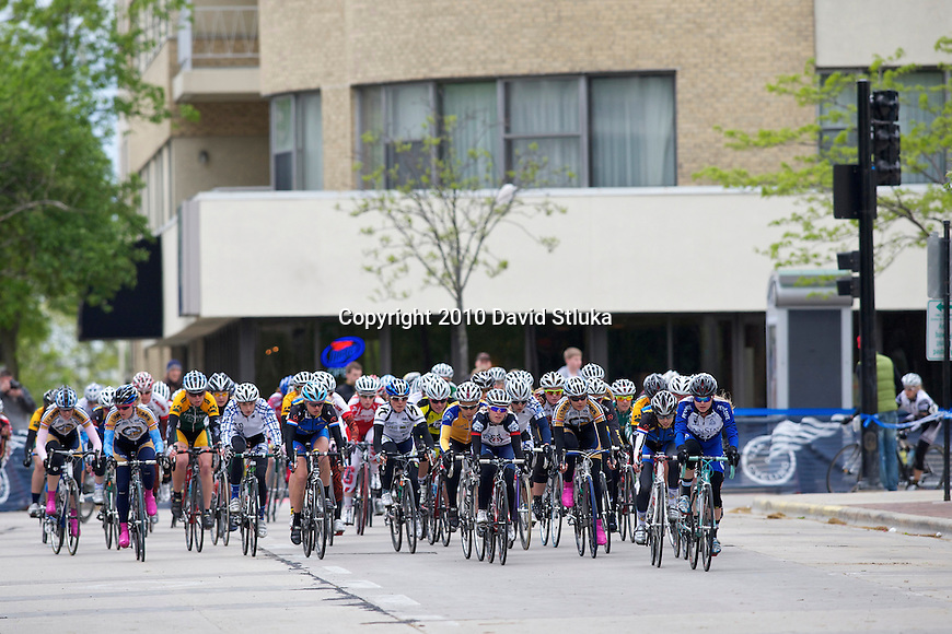 Division I collegiate women's criterium during the USA Cycling Collegiate Road National Championships at the Wisconsin State Capitol Square in Madison, Wisconsin on May 8, 2010. (Photo by David Stluka)