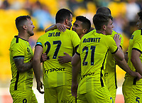 Phoenix captain Steven Taylor celebrates his goal during the A-League football match between Wellington Phoenix and Brisbane Roar at Westpac Stadium in Wellington, New Zealand on Saturday, 23 November 2019. Photo: Dave Lintott / lintottphoto.co.nz