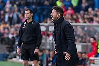 Diego Pablo Cholo Simeone coach of Atletico de Madrid  during the match of Spanish La Liga between Atletico de Madrid and Futbol Club Barcelona at Vicente Calderon Stadium in Madrid, Spain. February 26, 2017. (ALTERPHOTOS) /NortEPhoto.com