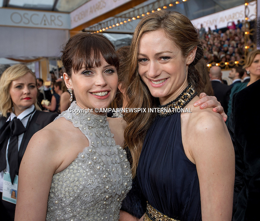 22.02.2015; Hollywood, California: 87TH OSCARS - FELICITY JONES AND HANNAH BAGSHAWE<br /> Celebrity arrivals at the Annual Academy Awards, Dolby Theatre, Hollywood.<br /> Mandatory Photo Credit: NEWSPIX INTERNATIONAL<br /> <br />               **ALL FEES PAYABLE TO: &quot;NEWSPIX INTERNATIONAL&quot;**<br /> <br /> PHOTO CREDIT MANDATORY!!: NEWSPIX INTERNATIONAL(Failure to credit will incur a surcharge of 100% of reproduction fees)<br /> <br /> IMMEDIATE CONFIRMATION OF USAGE REQUIRED:<br /> Newspix International, 31 Chinnery Hill, Bishop's Stortford, ENGLAND CM23 3PS<br /> Tel:+441279 324672  ; Fax: +441279656877<br /> Mobile:  0777568 1153<br /> e-mail: info@newspixinternational.co.uk