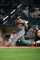 Lehigh Valley IronPigs third baseman Damek Tomscha (47) hits a home run in front of catcher Juan Graterol (52) in the bottom of the ninth inning during a game against the Rochester Red Wings on June 30, 2018 at Frontier Field in Rochester, New York.  Lehigh Valley defeated Rochester 6-2.  (Mike Janes/Four Seam Images)