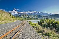 Road and Railway Line at Mangamaunu Bay, near Kaikoura, South Island, New Zealand