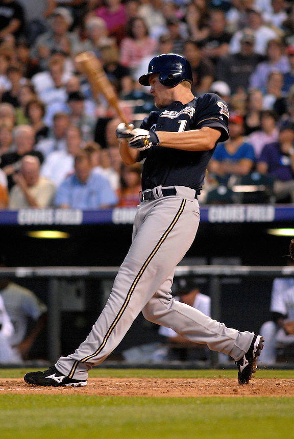 06 June 08: Milwuakee Brewers shortstop J.J. Hardy at bat against the Colorado Rockies. The Rockies defeated the Brewers 6-4 at Coors Field in Denver, Colorado on June 6, 2008. For EDITORIAL use only