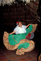 Young woman performing a traditional Mexican folk dance, Chihuahua, Mexico