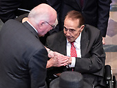 Former United States Senator Bob Dole (Republican of Kansas), right, is welcomed by US Senator Patrick Leahy (Democrat of Vermont) prior to the funeral service for the late US Senator John S. McCain, III (Republican of Arizona) at the Washington National Cathedral in Washington, DC on Saturday, September 1, 2018.<br /> Credit: Ron Sachs / CNP<br /> (RESTRICTION: NO New York or New Jersey Newspapers or newspapers within a 75 mile radius of New York City)