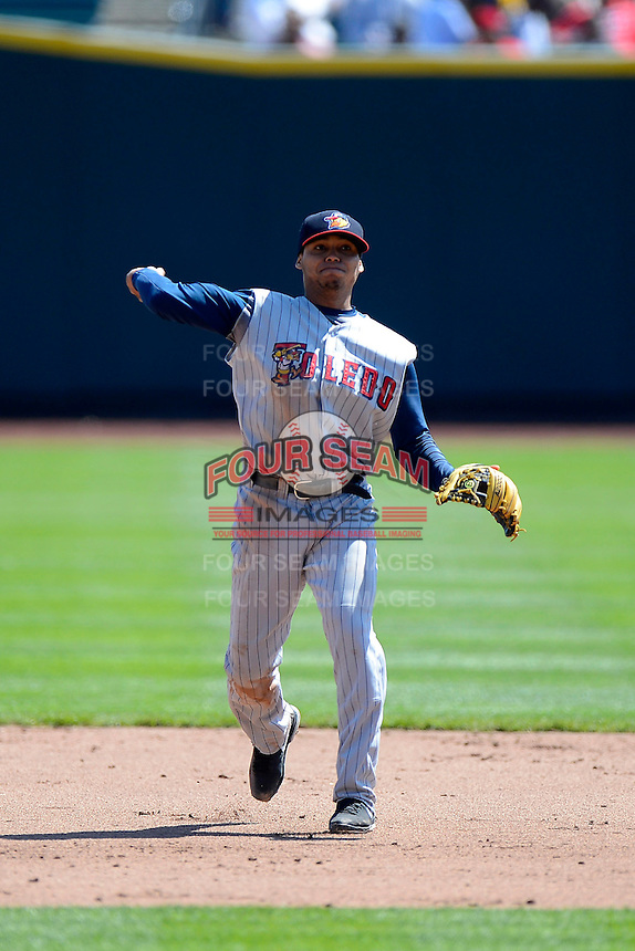 Toledo Mudhens shortstop Gustavo Nunez #3 during a game against the Columbus Clippers on April 22, 2013 at Huntington Park in Columbus, Ohio.  Columbus defeated Toledo 3-0.  (Mike Janes/Four Seam Images)