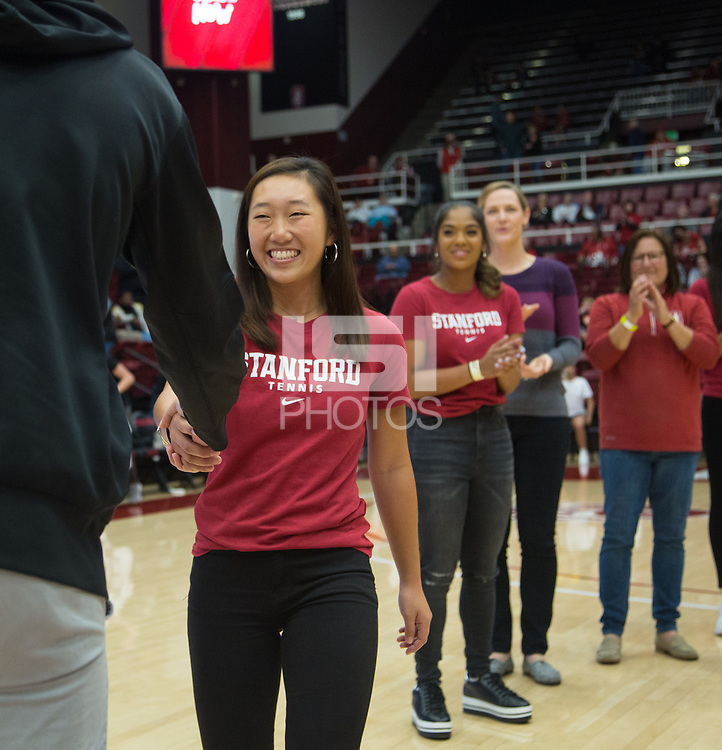 Stanford, CA - January 24, 2020: Sara Choy at Maples Pavilion. The Stanford Cardinal defeated the Colorado Buffaloes in overtime, 76-68.