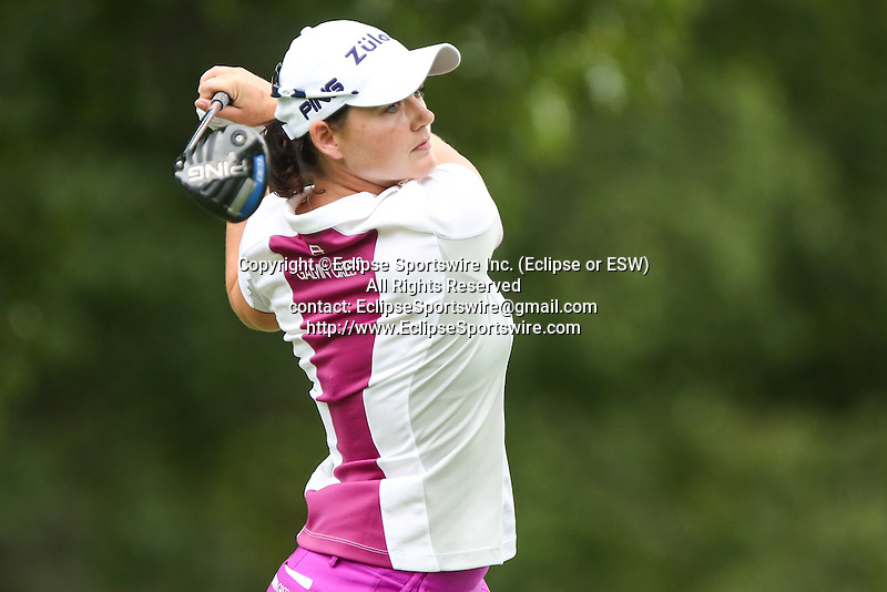 Caroline Masson tees off on the 12th tee at the LPGA Championship 2014 Sponsored By Wegmans at Monroe Golf Club in Pittsford, New York on August 16, 2014