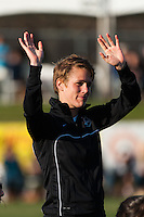 Sky Blue FC midfielder Sophie Schmidt (16) is introduced prior to playing the Western New York Flash. Sky Blue FC defeated the Western New York Flash 1-0 during a National Women's Soccer League (NWSL) match at Yurcak Field in Piscataway, NJ, on April 14, 2013.