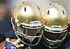 April 20, 2013: Notre Dame players collide at impact during the Notre Dame Blue-Gold Spring game at Notre Dame Stadium in South Bend, Indiana.  The Defense topped the Offense by a score of 54-43.
