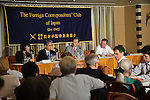 July 6, 2012, Tokyo, Japan - Kiyoshi Kurakawa, background second from right, chairman of the Fukushima Nuclear Accident Independent Investigation Commission appointed by the Diet, speaks during a news conference at Tokyo Foreign Correspondents Club of Japan on Friday, July 6, 2012. Kurokawa blamed a utility company and its regulators for Japans worst ever nuclear disaster..After a six-month independent investigation on last years crisis at the Fukushima No. 1 nuclear power plant, Kurokawa submitted the commissions final report to the parliament Thursday, concluding the disaster was man-made and the result of collusion between the nations regulatory bodies and Tokyo Electric Power Co., the operator of the nuclear plant. The report said the plant was unable to withstand the 9.0 earthquake and the tsunami that followed simply because the operator and the regulators overseeing nuclear power and safety failed to correctly develop the most basic safety requirements, effectively betraying the nations right to be safe from nuclear accidents. (Photo by Natsuki Sakai/AFLO).