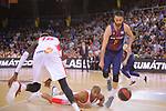 League ACB-ENDESA 2017/2018.<br /> PlayOff-Semifinal-Game: 3<br /> FC Barcelona Lassa vs Kirolbet Baskonia: 67-65.<br /> Juan Carlos Navarro, Jayson Granger &amp; Ilimane Diop.