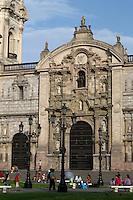 Peru, Lima.  Entrance to the Cathedral, Plaza de Armas.