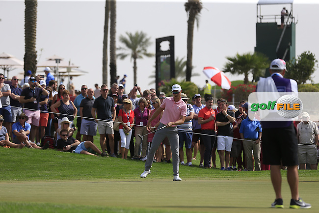 Haotong Li (CHN) on the 1st green during Round 2 of the Omega Dubai Desert Classic, Emirates Golf Club, Dubai,  United Arab Emirates. 25/01/2019<br /> Picture: Golffile | Thos Caffrey<br /> <br /> <br /> All photo usage must carry mandatory copyright credit (© Golffile | Thos Caffrey)