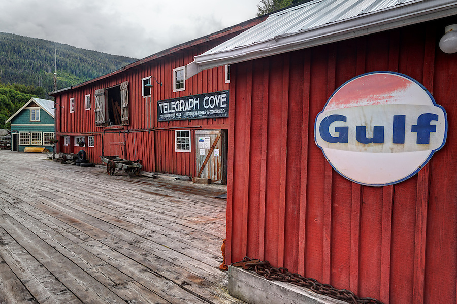 Wharf boardwalk and shops, Telegraph Cove, Vancouver Island, Canada