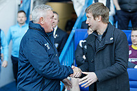 (L-R) Sheffield Wednesday manager Steve Bruce greets Swansea City manager Graham Potter during the Sky Bet Championship match between Sheffield Wednesday and Swansea City at Hillsborough Stadium, Sheffield, England, UK. Saturday 23 February 2019