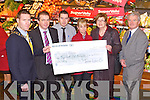 CHEQUE PRESENTATION: President of the Tralee Lyons Club Pat Crean and Kevin O'Connor MD of Garvey's Supervalu  presenting Maureen O'Brien and Philip O'Neill of Recovery Haven with a cheque for €4,500 with monies raised from the Garvey's Food Fair in association with Tralee Lyons Club at Garvey's Supervalu, Tralee on Friday l-r: Pat Crean (Tralee Lyons Club), Kevin O'Connor (MD Garvey's Supervalu), Kevin McCarthy (manager Garvey's Supervalu), Jean Walsh (supervisor Garvey's Supervalu), Maureen O'Brien and Philip O'Neill (Recovery Haven).