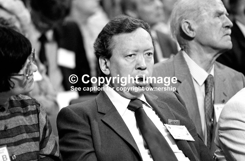 Anthony Howard, political journalist, broadcaster, deputy editor, The Observer, in his natural habitat - among the audience at a political conference, in this case that of the Conservative Party in 1984, the year of the Provisional IRA bombing of the Grand Hotel in Brighton. 19840172AH.<br />