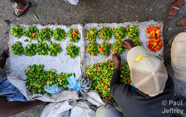 Chiles on sale in the Croix-des-Bossales market in the La Saline neighborhood of Port-au-Prince, Haiti.